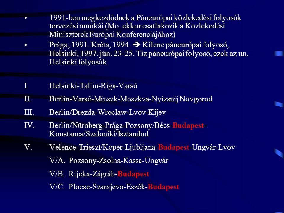 1991-ben megkezdődnek a Páneurópai közlekedési folyosók tervezési munkái (Mo. ekkor csatlakozik a Közlekedési Miniszterek Európai Konferenciájához) Pr