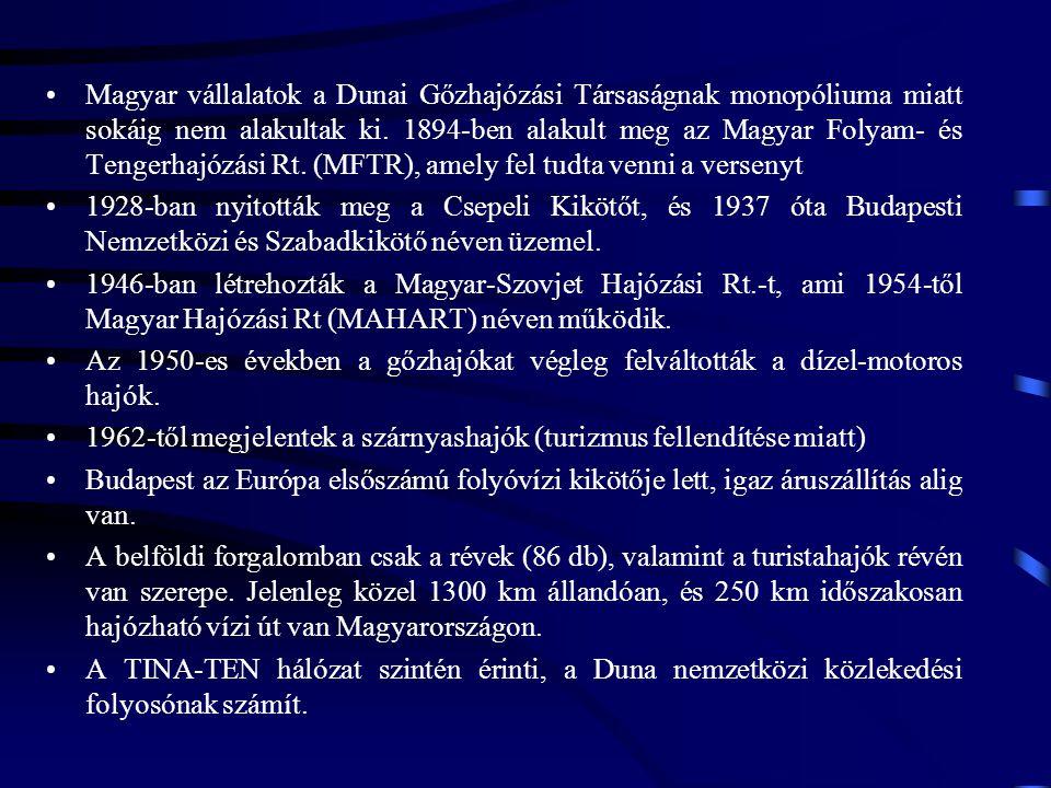 Magyar vállalatok a Dunai Gőzhajózási Társaságnak monopóliuma miatt sokáig nem alakultak ki. 1894-ben alakult meg az Magyar Folyam- és Tengerhajózási