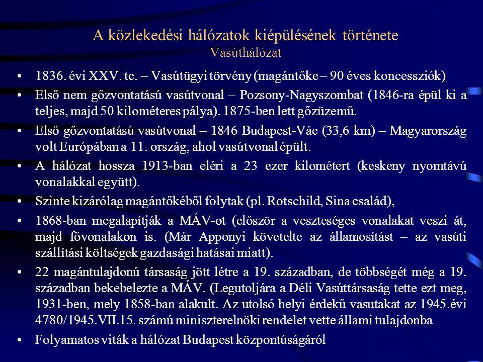 A közlekedési hálózatok kiépülésének története Vasúthálózat 1836. évi XXV. tc. – Vasútügyi törvény (magántőke – 90 éves koncessziók) Első nem gőzvonta