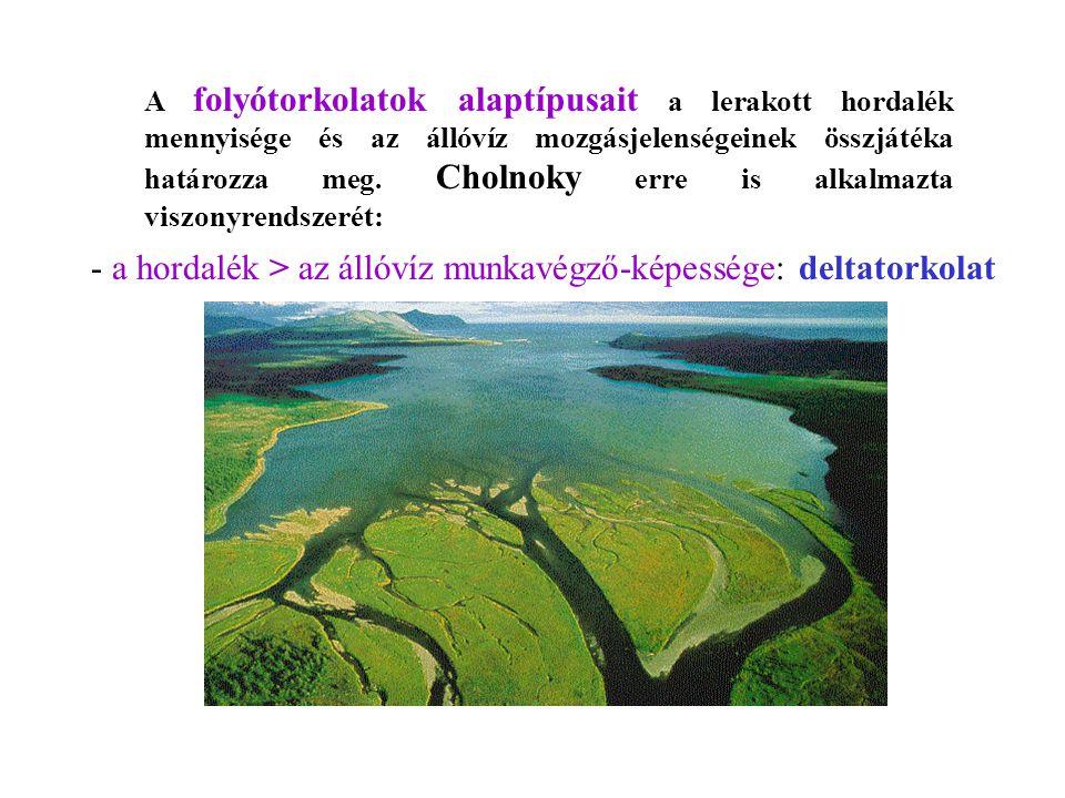 A folyótorkolatok alaptípusait a lerakott hordalék mennyisége és az állóvíz mozgásjelenségeinek összjátéka határozza meg. Cholnoky erre is alkalmazta