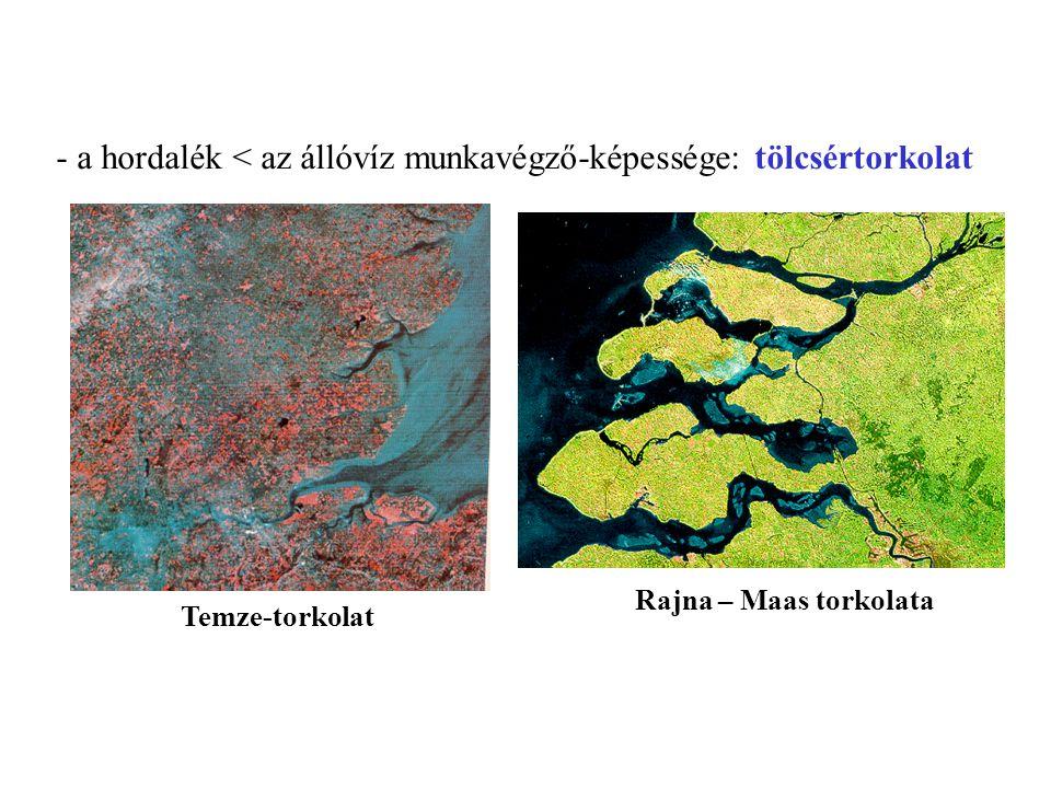 - a hordalék < az állóvíz munkavégző-képessége: tölcsértorkolat Temze-torkolat Rajna – Maas torkolata