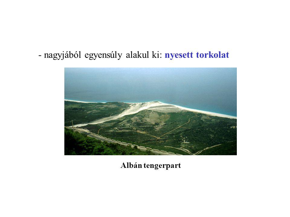- nagyjából egyensúly alakul ki: nyesett torkolat Albán tengerpart