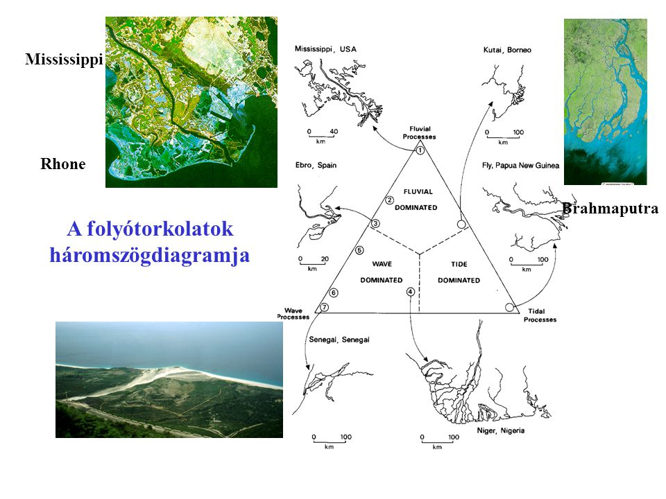 A folyótorkolatok háromszögdiagramja Mississippi Rhone Brahmaputra