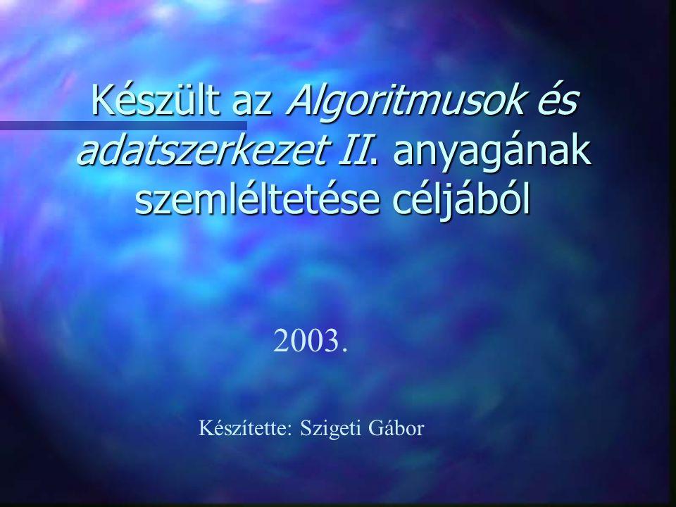 Készült az Algoritmusok és adatszerkezet II. anyagának szemléltetése céljából 2003. Készítette: Szigeti Gábor