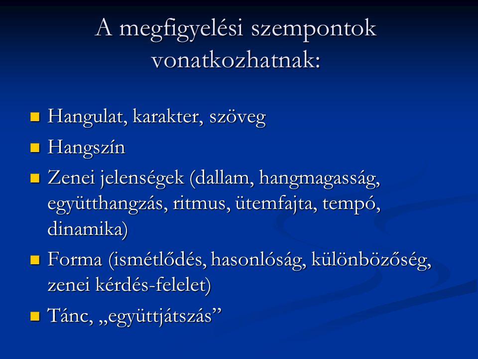 A megfigyelési szempontok vonatkozhatnak: Hangulat, karakter, szöveg Hangulat, karakter, szöveg Hangszín Hangszín Zenei jelenségek (dallam, hangmagass