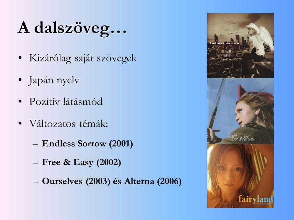 A dalszöveg… Kizárólag saját szövegek Japán nyelv Pozitív látásmód Változatos témák: –Endless Sorrow (2001) –Free & Easy (2002) –Ourselves (2003) és A