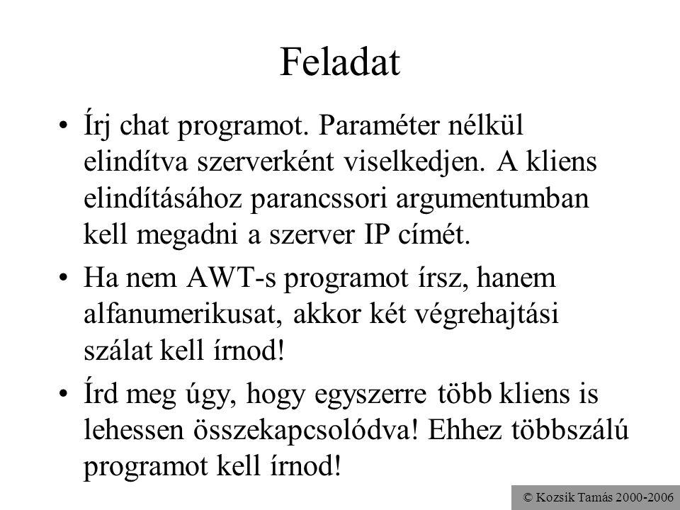 © Kozsik Tamás 2000-2006 Feladat Írj chat programot.