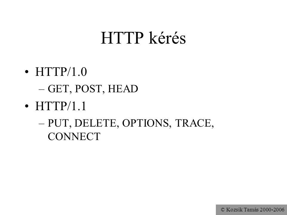 © Kozsik Tamás 2000-2006 HTTP kérés HTTP/1.0 –GET, POST, HEAD HTTP/1.1 –PUT, DELETE, OPTIONS, TRACE, CONNECT