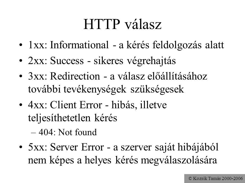 © Kozsik Tamás 2000-2006 HTTP válasz 1xx: Informational - a kérés feldolgozás alatt 2xx: Success - sikeres végrehajtás 3xx: Redirection - a válasz előállításához további tevékenységek szükségesek 4xx: Client Error - hibás, illetve teljesíthetetlen kérés –404: Not found 5xx: Server Error - a szerver saját hibájából nem képes a helyes kérés megválaszolására