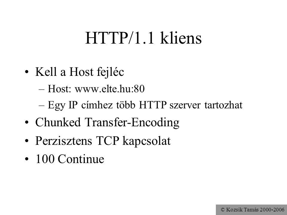 © Kozsik Tamás 2000-2006 HTTP/1.1 kliens Kell a Host fejléc –Host: www.elte.hu:80 –Egy IP címhez több HTTP szerver tartozhat Chunked Transfer-Encoding Perzisztens TCP kapcsolat 100 Continue
