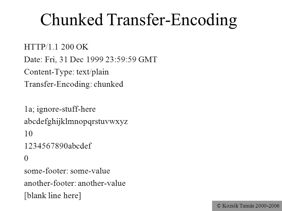 © Kozsik Tamás 2000-2006 Chunked Transfer-Encoding HTTP/1.1 200 OK Date: Fri, 31 Dec 1999 23:59:59 GMT Content-Type: text/plain Transfer-Encoding: chunked 1a; ignore-stuff-here abcdefghijklmnopqrstuvwxyz 10 1234567890abcdef 0 some-footer: some-value another-footer: another-value [blank line here]