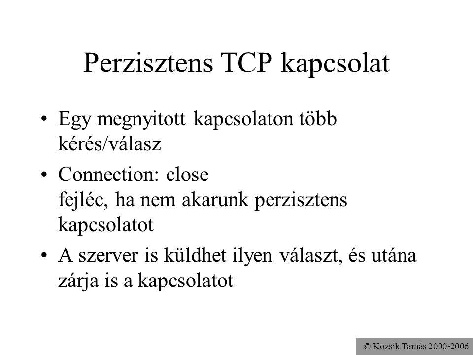 © Kozsik Tamás 2000-2006 Perzisztens TCP kapcsolat Egy megnyitott kapcsolaton több kérés/válasz Connection: close fejléc, ha nem akarunk perzisztens kapcsolatot A szerver is küldhet ilyen választ, és utána zárja is a kapcsolatot