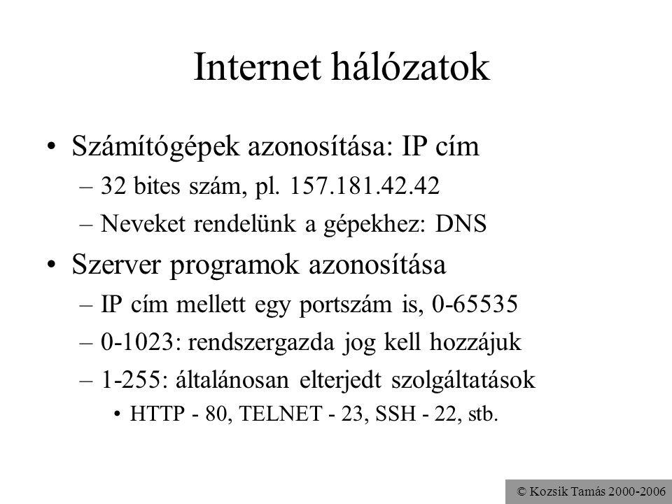 © Kozsik Tamás 2000-2006 Internet hálózatok Számítógépek azonosítása: IP cím –32 bites szám, pl.