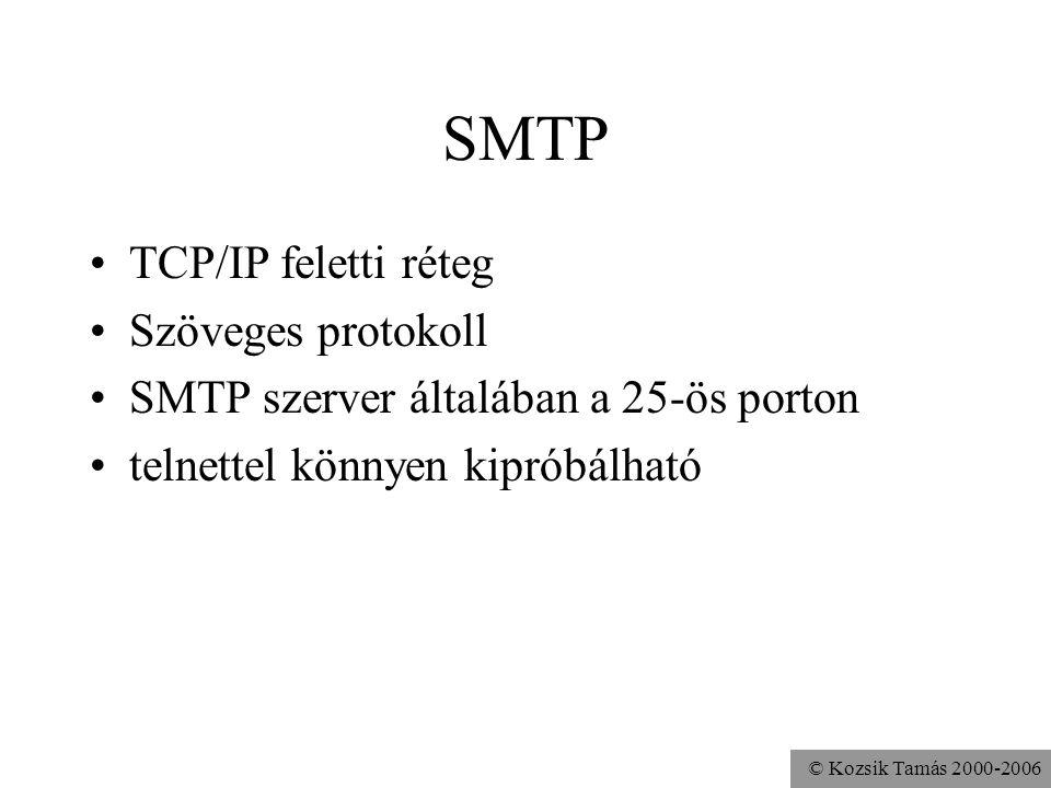 © Kozsik Tamás 2000-2006 SMTP TCP/IP feletti réteg Szöveges protokoll SMTP szerver általában a 25-ös porton telnettel könnyen kipróbálható