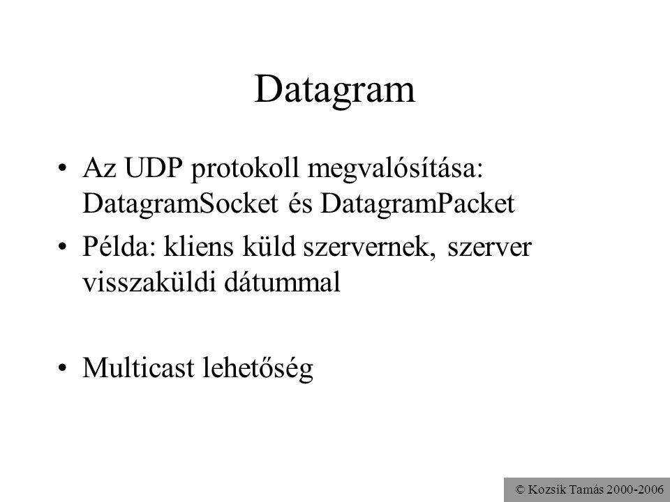 © Kozsik Tamás 2000-2006 Datagram Az UDP protokoll megvalósítása: DatagramSocket és DatagramPacket Példa: kliens küld szervernek, szerver visszaküldi dátummal Multicast lehetőség