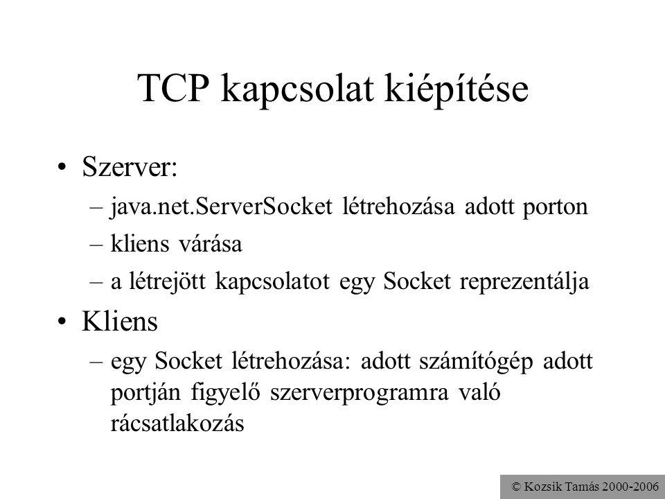 © Kozsik Tamás 2000-2006 TCP kapcsolat kiépítése Szerver: –java.net.ServerSocket létrehozása adott porton –kliens várása –a létrejött kapcsolatot egy Socket reprezentálja Kliens –egy Socket létrehozása: adott számítógép adott portján figyelő szerverprogramra való rácsatlakozás