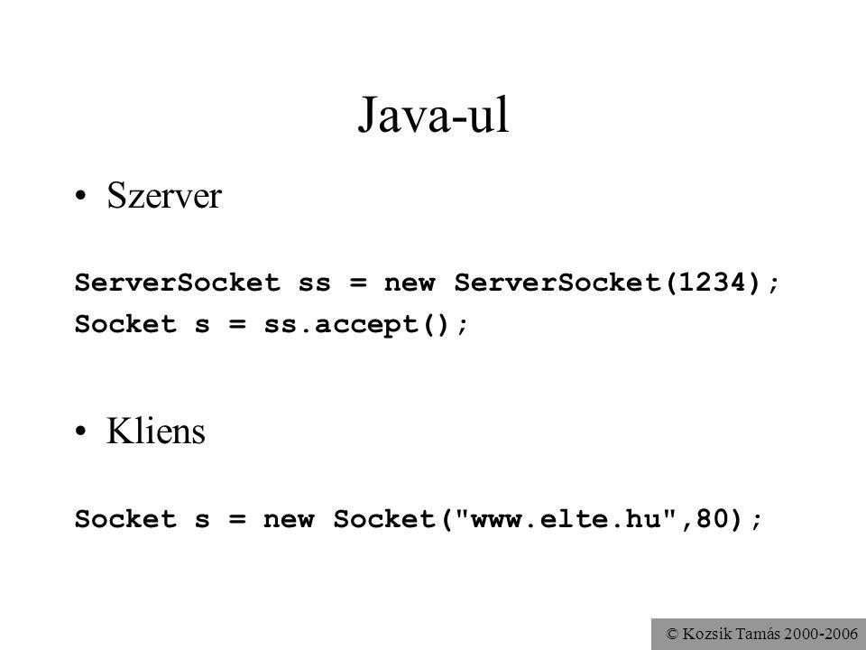 © Kozsik Tamás 2000-2006 Java-ul Szerver ServerSocket ss = new ServerSocket(1234); Socket s = ss.accept(); Kliens Socket s = new Socket( www.elte.hu ,80);