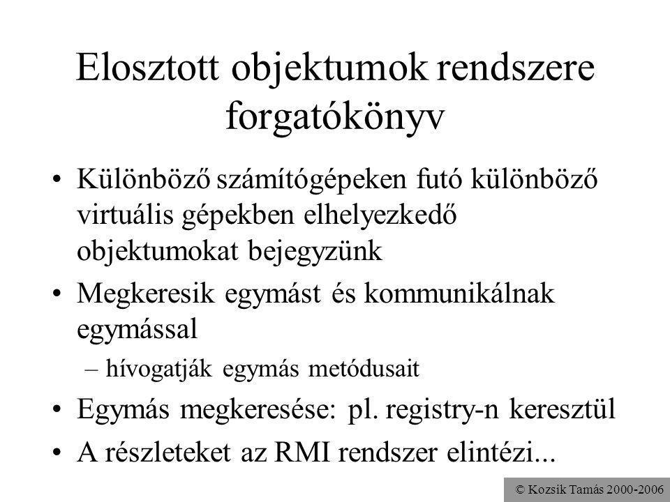 © Kozsik Tamás 2000-2006 RemoteAdder.java (2/2) public static void main( String args[] ) throws java.rmi.RemoteException, java.net.MalformedURLException { Adder adder = new RemoteAdder(); String name = rmi://localhost:8000/Adder ; java.rmi.Naming.rebind(name,adder); }