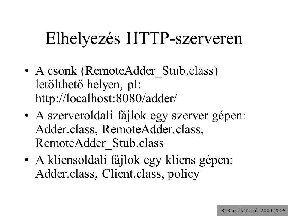 © Kozsik Tamás 2000-2006 Elhelyezés HTTP-szerveren A csonk (RemoteAdder_Stub.class) letölthető helyen, pl: http://localhost:8080/adder/ A szerveroldali fájlok egy szerver gépen: Adder.class, RemoteAdder.class, RemoteAdder_Stub.class A kliensoldali fájlok egy kliens gépen: Adder.class, Client.class, policy