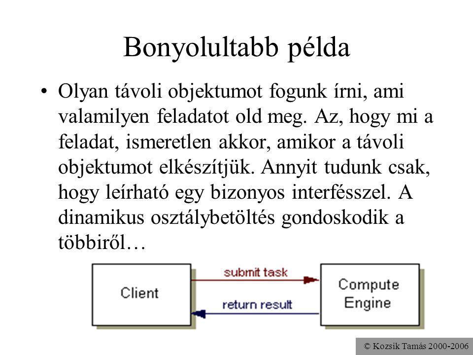 © Kozsik Tamás 2000-2006 Bonyolultabb példa Olyan távoli objektumot fogunk írni, ami valamilyen feladatot old meg.
