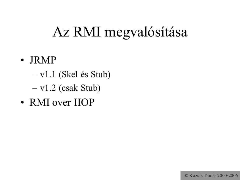 © Kozsik Tamás 2000-2006 Az RMI megvalósítása JRMP –v1.1 (Skel és Stub) –v1.2 (csak Stub) RMI over IIOP