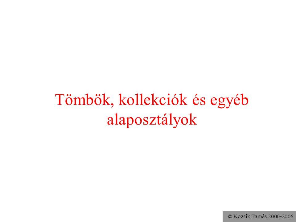 © Kozsik Tamás 2000-2006 Set: halmaz adattípus egy elem csak egyszer szerepelhet a halmazban az elemek sorrendje indifferens két halmaz egyenlő, ha ua.