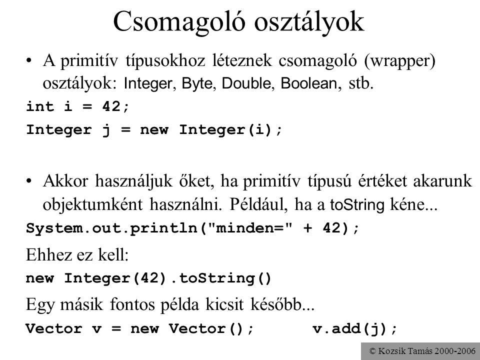 © Kozsik Tamás 2000-2006 Csomagoló osztályok A primitív típusokhoz léteznek csomagoló (wrapper) osztályok: Integer, Byte, Double, Boolean, stb. int i