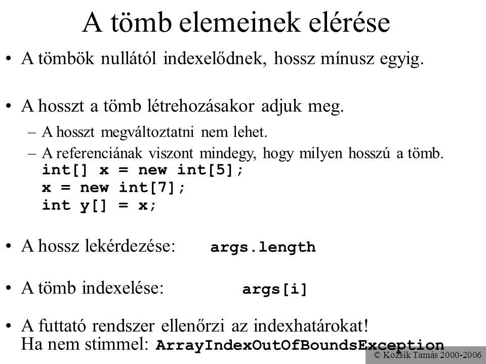 © Kozsik Tamás 2000-2006 A tömb elemeinek elérése A tömbök nullától indexelődnek, hossz mínusz egyig. A hosszt a tömb létrehozásakor adjuk meg. –A hos