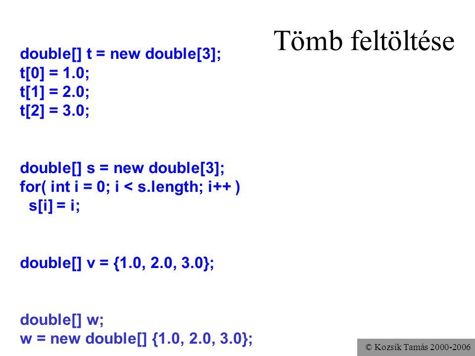 © Kozsik Tamás 2000-2006 Tömb feltöltése double[] t = new double[3]; t[0] = 1.0; t[1] = 2.0; t[2] = 3.0; double[] s = new double[3]; for( int i = 0; i < s.length; i++ ) s[i] = i; double[] v = {1.0, 2.0, 3.0}; double[] w; w = new double[] {1.0, 2.0, 3.0};