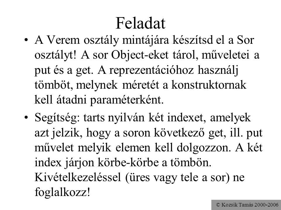 © Kozsik Tamás 2000-2006 Feladat A Verem osztály mintájára készítsd el a Sor osztályt.