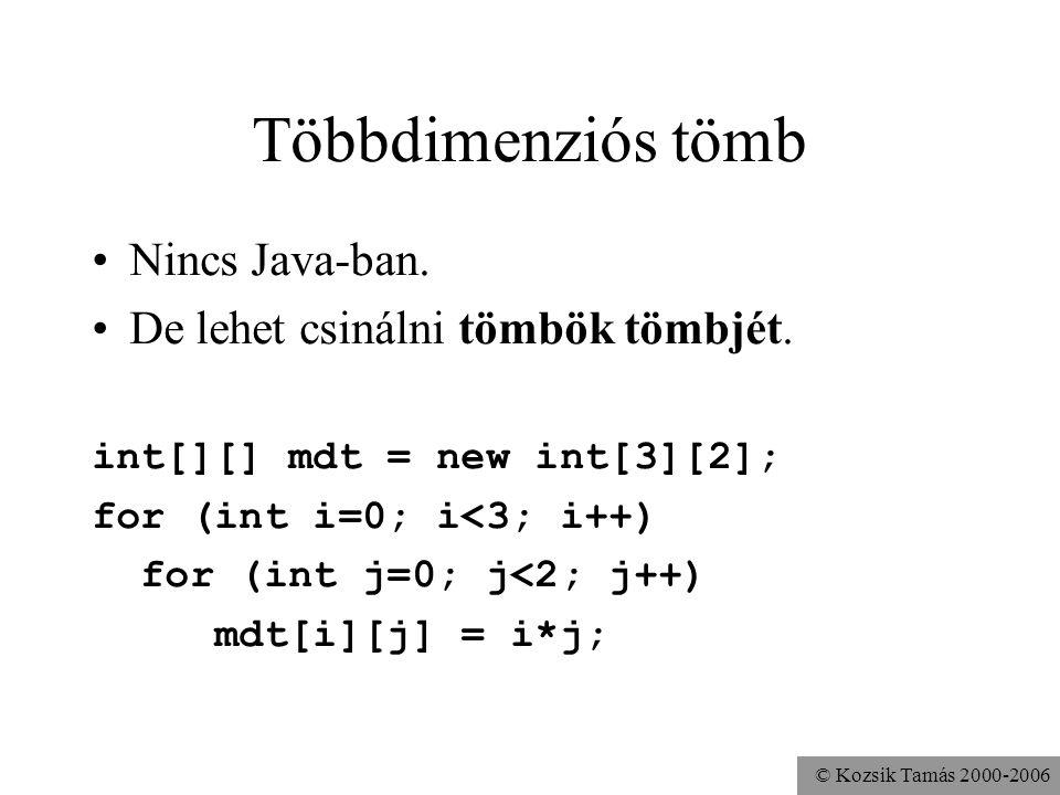 © Kozsik Tamás 2000-2006 Többdimenziós tömb Nincs Java-ban. De lehet csinálni tömbök tömbjét. int[][] mdt = new int[3][2]; for (int i=0; i<3; i++) for