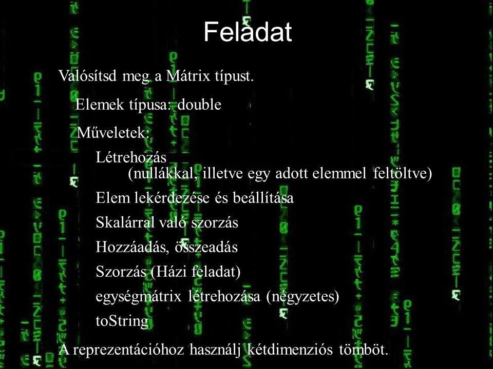 © Kozsik Tamás 2000-2006 Feladat / Valósítsd meg a Mátrix típust. Elemek típusa: double Műveletek: Létrehozás (nullákkal, illetve egy adott elemmel fe