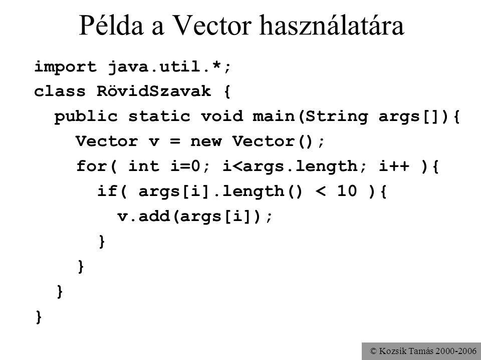 © Kozsik Tamás 2000-2006 Példa a Vector használatára import java.util.*; class RövidSzavak { public static void main(String args[]){ Vector v = new Ve