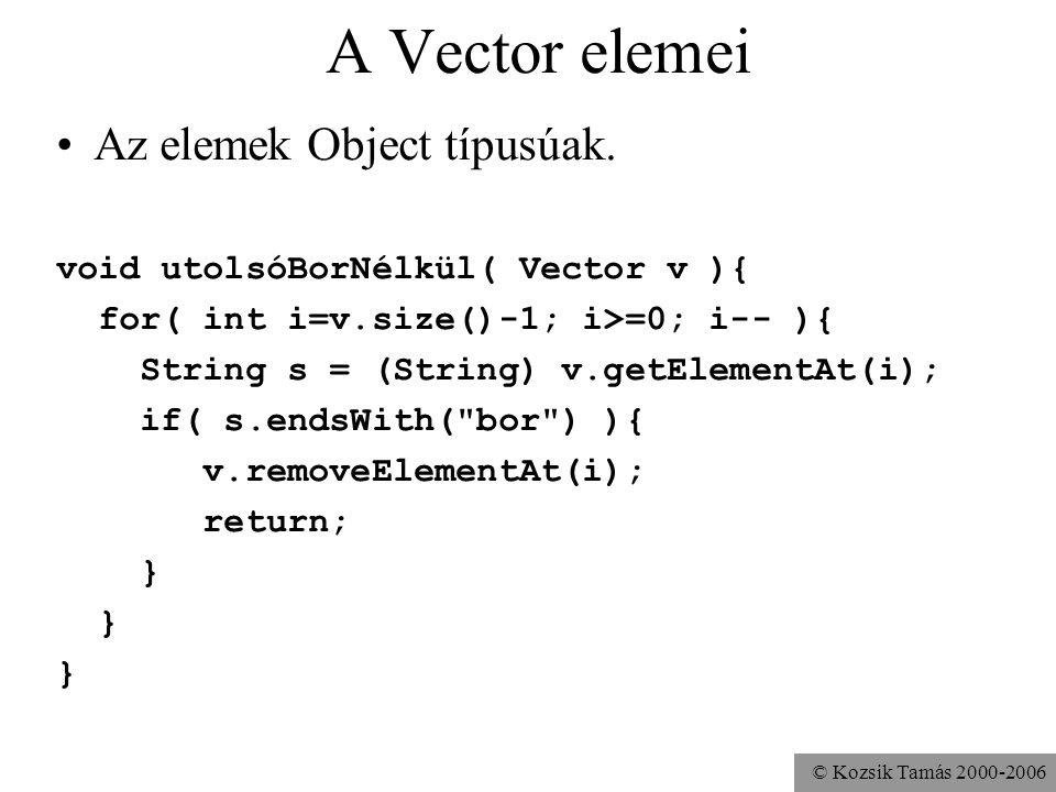 © Kozsik Tamás 2000-2006 A Vector elemei Az elemek Object típusúak. void utolsóBorNélkül( Vector v ){ for( int i=v.size()-1; i>=0; i-- ){ String s = (
