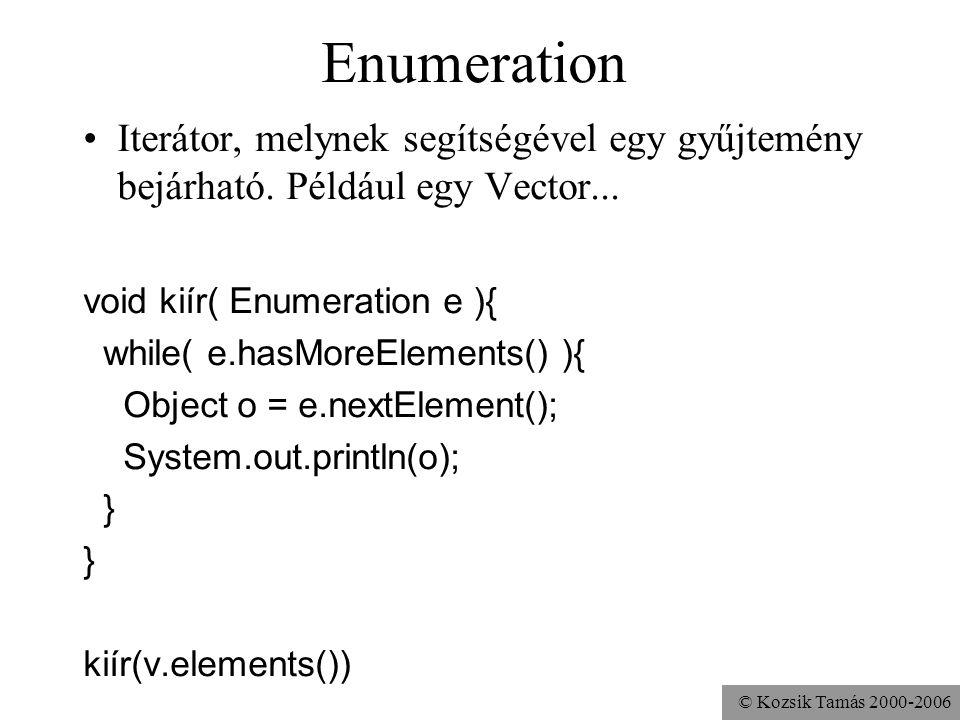 © Kozsik Tamás 2000-2006 Enumeration Iterátor, melynek segítségével egy gyűjtemény bejárható. Például egy Vector... void kiír( Enumeration e ){ while(