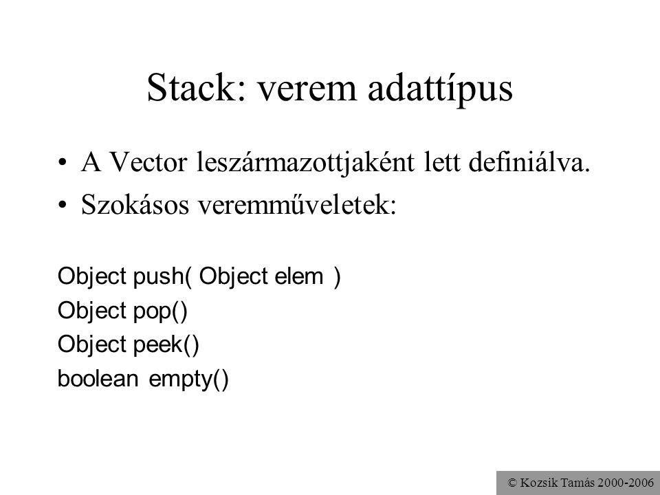 © Kozsik Tamás 2000-2006 Stack: verem adattípus A Vector leszármazottjaként lett definiálva. Szokásos veremműveletek: Object push( Object elem ) Objec