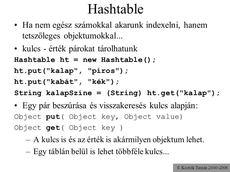 © Kozsik Tamás 2000-2006 Hashtable Ha nem egész számokkal akarunk indexelni, hanem tetszőleges objektumokkal... kulcs - érték párokat tárolhatunk Hash