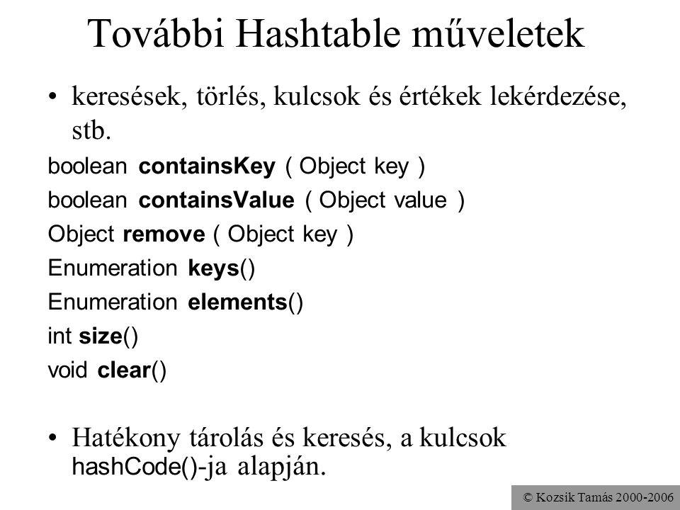 © Kozsik Tamás 2000-2006 További Hashtable műveletek keresések, törlés, kulcsok és értékek lekérdezése, stb. boolean containsKey ( Object key ) boolea