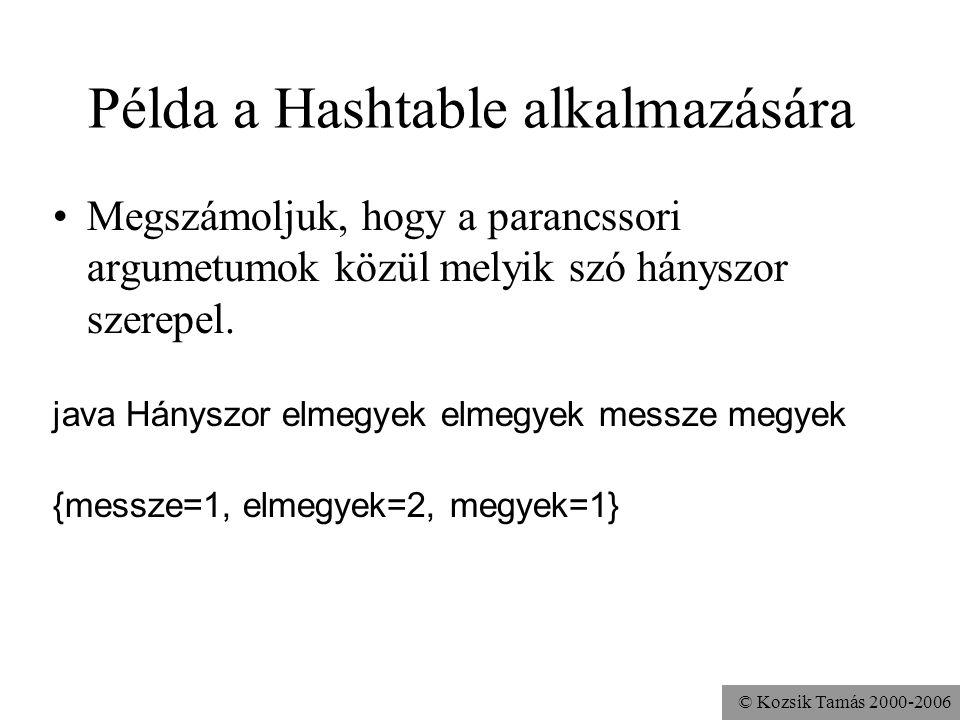 © Kozsik Tamás 2000-2006 Példa a Hashtable alkalmazására Megszámoljuk, hogy a parancssori argumetumok közül melyik szó hányszor szerepel. java Hányszo