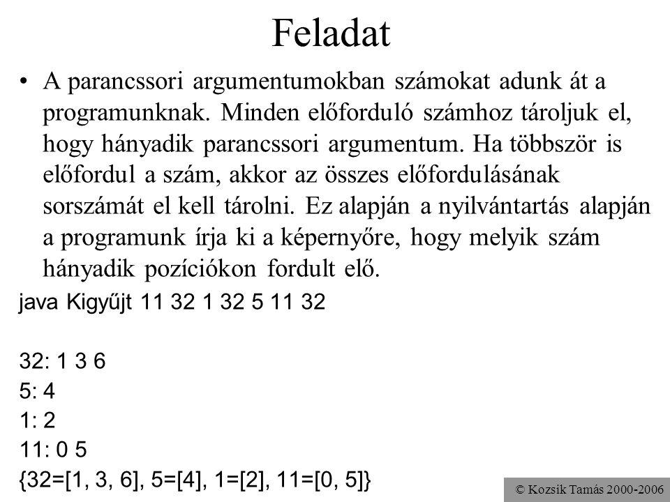 © Kozsik Tamás 2000-2006 Feladat A parancssori argumentumokban számokat adunk át a programunknak. Minden előforduló számhoz tároljuk el, hogy hányadik