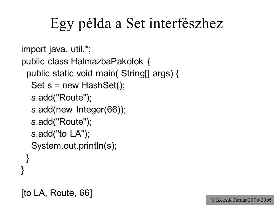 © Kozsik Tamás 2000-2006 Egy példa a Set interfészhez import java. util.*; public class HalmazbaPakolok { public static void main( String[] args) { Se