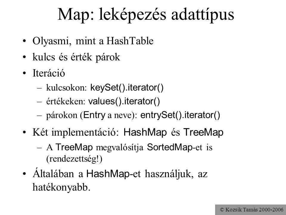 © Kozsik Tamás 2000-2006 Map: leképezés adattípus Olyasmi, mint a HashTable kulcs és érték párok Iteráció –kulcsokon: keySet().iterator() –értékeken: values().iterator() –párokon ( Entry a neve): entrySet().iterator() Két implementáció: HashMap és TreeMap –A TreeMap megvalósítja SortedMap -et is (rendezettség!) Általában a HashMap -et használjuk, az hatékonyabb.