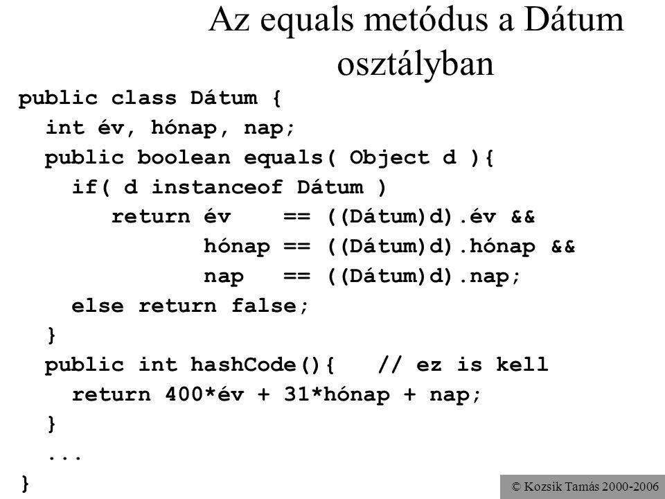 © Kozsik Tamás 2000-2006 Az equals metódus a Dátum osztályban public class Dátum { int év, hónap, nap; public boolean equals( Object d ){ if( d instanceof Dátum ) return év == ((Dátum)d).év && hónap == ((Dátum)d).hónap && nap == ((Dátum)d).nap; else return false; } public int hashCode(){ // ez is kell return 400*év + 31*hónap + nap; }...