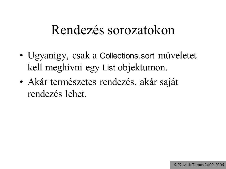 © Kozsik Tamás 2000-2006 Rendezés sorozatokon Ugyanígy, csak a Collections.sort műveletet kell meghívni egy List objektumon.