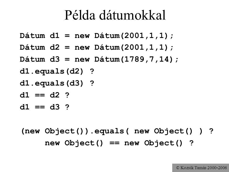 © Kozsik Tamás 2000-2006 Példa dátumokkal Dátum d1 = new Dátum(2001,1,1); Dátum d2 = new Dátum(2001,1,1); Dátum d3 = new Dátum(1789,7,14); d1.equals(d2) .