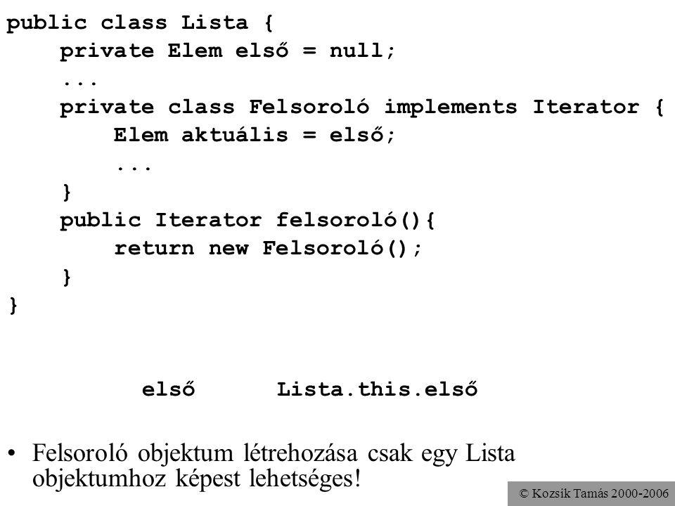 © Kozsik Tamás 2000-2006 public class Lista { private Elem első = null;...