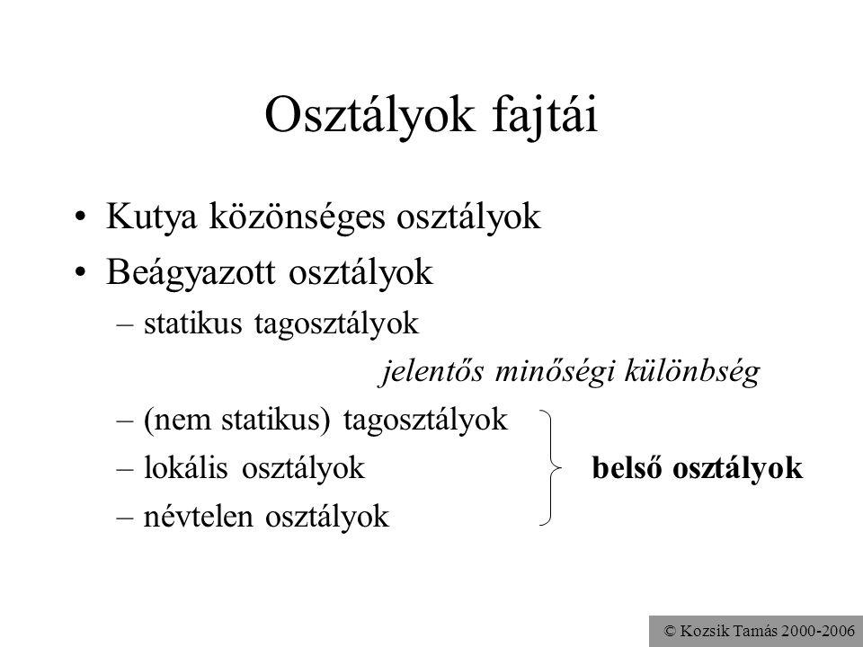 © Kozsik Tamás 2000-2006 Beágyazott osztályok használata Névtelen osztály a leggyakrabban AWT-ben eseménykezelők írása Observer