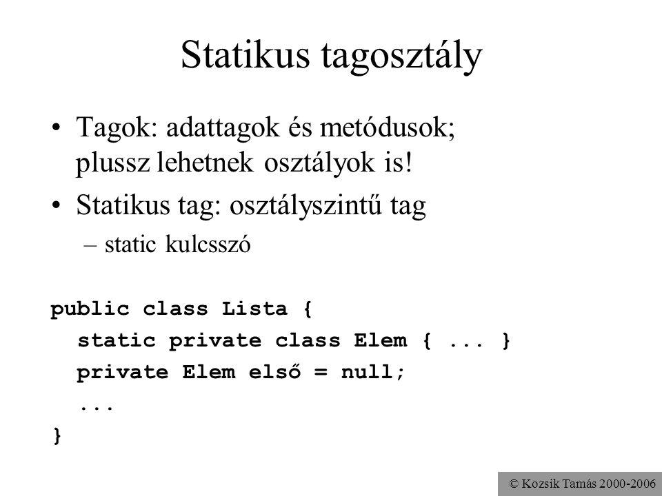 © Kozsik Tamás 2000-2006 public class Lista { private Elem első; private static class Elem { Object adat; Elem előző, következő; Elem(Object adat, Elem előző, Elem következő){ this.adat = adat; this.előző = előző; this.következő = következő; } public void beszúr (Object adat) { első = new Elem(adat,null,első); if (első.következő != null) első.következő.előző = első; }...