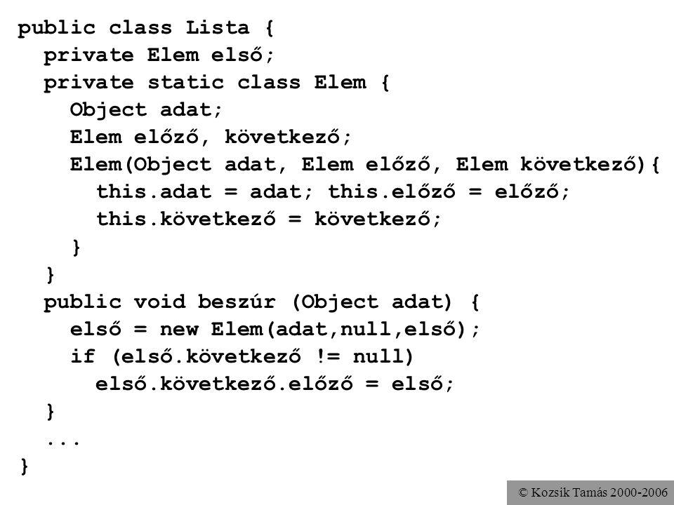 © Kozsik Tamás 2000-2006 A statikus tagosztályok által kínált előnyök Logikai összetartozás kifejezése –kompaktság, olvashatóság Tokbazárás, adatelrejtés támogatása –Az Elem segédosztályt elrejtettük a külvilág elől A beágyazott osztály hozzáfér a befoglaló osztály privát adataihoz –A Felsoroló osztályból használhatjuk a Lista osztály privát adatait –Természetesen a befoglaló is a beágyazottéihoz