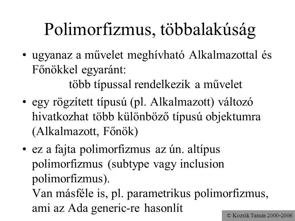 © Kozsik Tamás 2000-2006 Példa: Főnök része Alkalmazott az Alkalmazott műveleteit meghívhatjuk egy Főnökre is Főnök f = new Főnök(